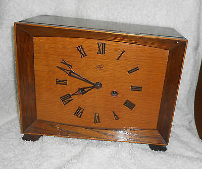 SMITHS Oak WOODEN Cased MANTEL CLOCK Vintage With WESTMINSTER Chime 1950s Square