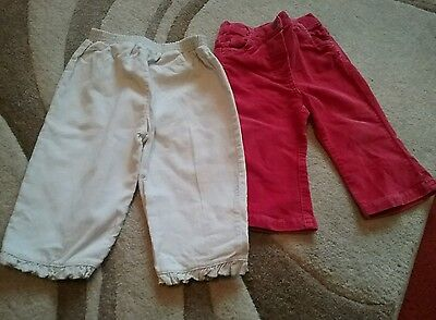 next bundle of winter trousers baby girl 6 -9 months red velvet cream cord