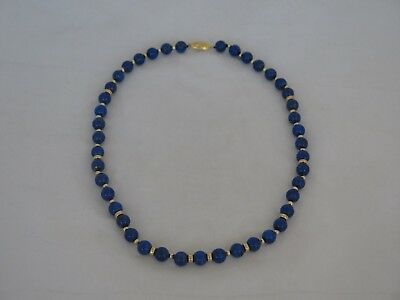 """Old Chinese Lapis & Vermeil Silver 20"""" Necklace"""