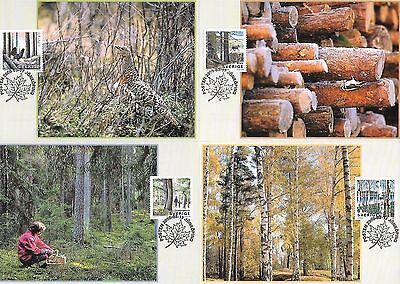 Sweden 2000 Forests set of 4 maxi cards with cancelled stamps