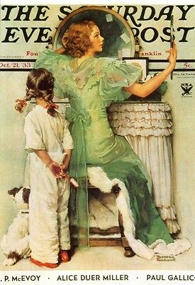 NORMAN ROCKWELL POSTCARD Evening Post Going Out Young Girl Woman Vanity Table