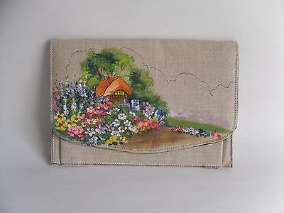 Vintage 1950s Hand-Painted Lined Linen Clutch Bag/ Handbag. English Country Home