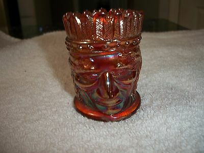 St Clair Chief Head Marigold Glass Toothpick Holder
