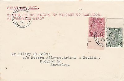 Barbados Kingstown To St Vincent 1932 Humming Birst Flight Cover Cover