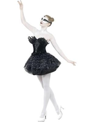 Ladies Gothic Dark Swan Black Ballerina Halloween Fancy Dress Costume