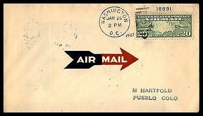 Us Scott C9 Plate Number Single Airmail First Day Cover 1927