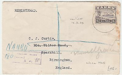 Nauru To England 6 Pence Pictorial Single Franked 1920 Registered Cover