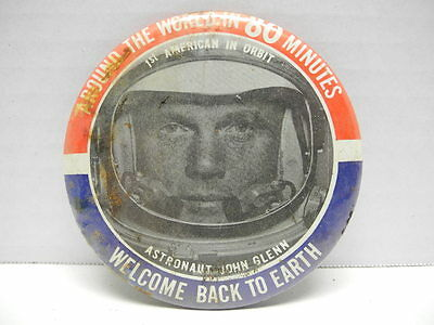 """1962 Astronaut John Glenn """"Welcome Back To Earth - 1st In Oribit Collector's Pin"""