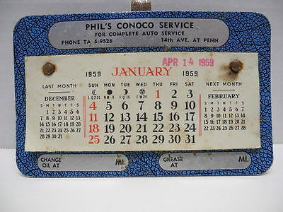 Vintage 1959 Phil's Conoco Service Auto Visor Calendar w/ Oil and Grease Mileage