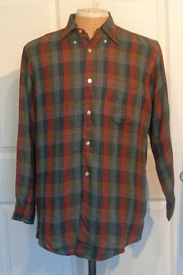 Vintage Gant Shadow Plaid Rayon Shirt Tailored for Wallachs the McKenzie C50