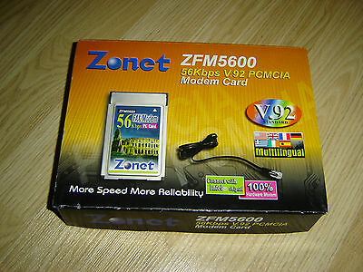 Zonet Zfm5600 56K V.92 Pcmcia Fax Modem Isdn Card With Cable New Retail Box