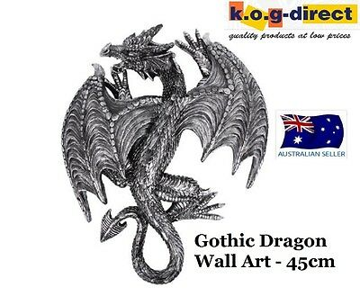 Gothic Black Silver Dragon Protector Wall Art Figurine 45Cm Dragbpwa