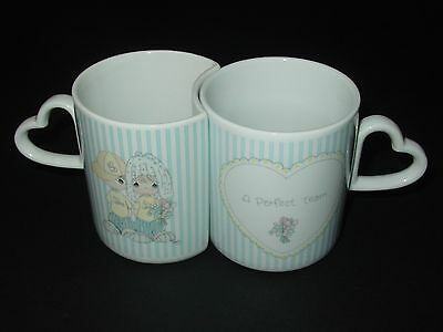 Heart Love Better 1/2 His Hers 1987 Precious Moment 2 Ceramic Cup Mug Tea Coffee