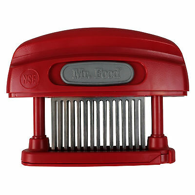 Mr. Food Butcher Magician 45-Blade Stainless Steel Meat Tenderizer + Cover, Red