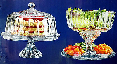 Shannon CRYSTAL GLASS 4 in 1 Dome CAKE STAND, Salad Bowl, 1 Gal Punch Bowl NEW