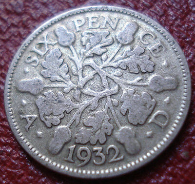 1932 British Six Pence In Vg Condition (.500 Silver)