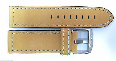 22Mm Sand Coloured Brown Large Leather Strap & Steel Buckle By Glycine #y