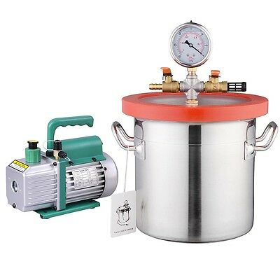 2 Gallon Vacuum Chamber & 3 CFM Single Stage Pump Kit for Degassing Silicones
