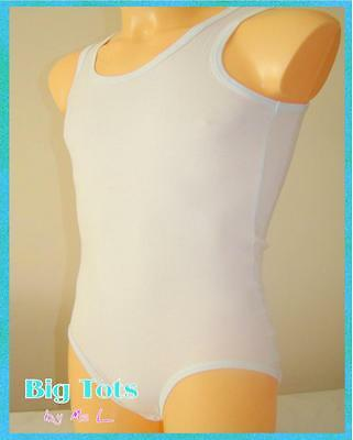 Adult Baby Tank Top Cotton-Spandex Bodysuit 4Sizes  *Big Tots by MsL*