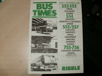 Ribble;12 page Bus Timetable;Various Kendal/Keswick area services;01/09/1987