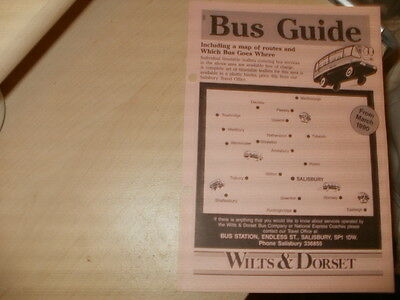 """Wilts&Dorset Buses;8 page """"Bus Guide""""-Bus Map& Route n.o/Destination index; 1990"""