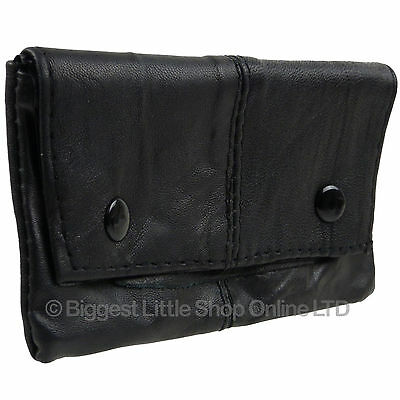 New Soft Black Lined Leather Sheep Nappa Tobacco Pouch Rizla Pocket Great value