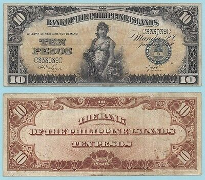 1920 Bank of the Philippine Islands 10 Pesos ~ P14 ~ Very Fine Condition