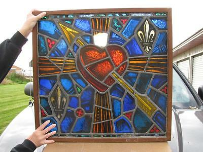 Antique Hand Painted & Fired Stained Glass Window Father Groppi Milwaukee, Heart