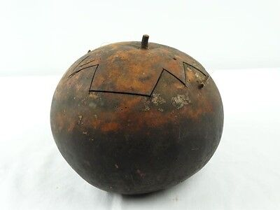 Old Tribal PNG Food storage container made from a carved Gourd Papua New Guinea