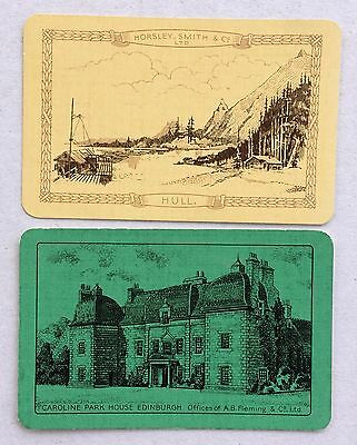 Vintage Swap / Playing Card Pair - Scenes - Hull & Caroline Park House - Linen