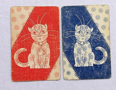 Vintage Swap / Playing Card Pair - Toy Cats With Stitching & Spots