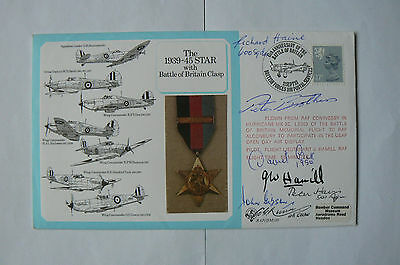 Raf (Dm)10 Cover 1939-45 Star - Signed Gibson, Brothers, Cox, Haine, Hamill + 2