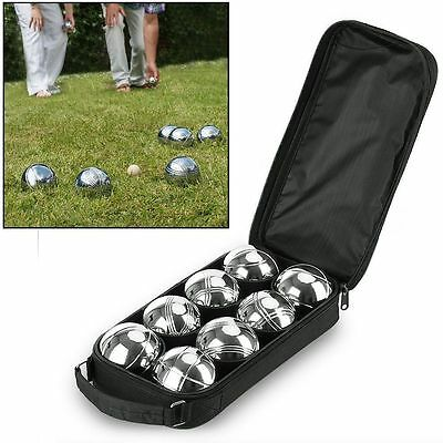 Professional 8 Steel French Boules Garden Game Set + 1 Jack + 1 Carry Case