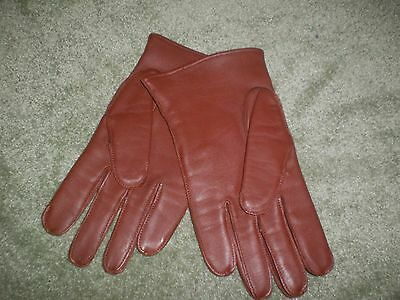 New Brown Leather Gloves, Size 8.5
