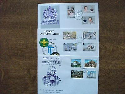 Isle of Man 1977 Silver Jubilee, Anniversaries & Wesley First Day Covers
