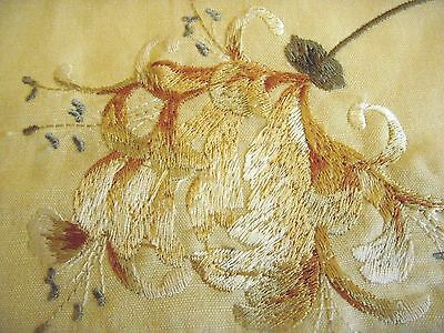 Fabulous Vintage Quilted Bedspread Silk Embroidered Honeysuckle Fabric 292x248cm