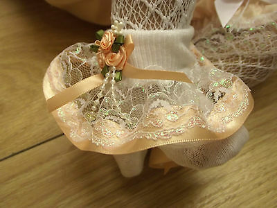 DREAM BABY PEACH PEARLISED ROMANY FRILLY SOCKS ALL SIZESavailable or reborn