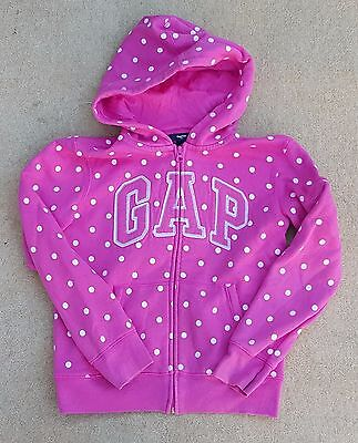 GAP Girls Pink White Spotty Zip Up Long Sleeved Hoodie Cotton Poly 10-11 Years