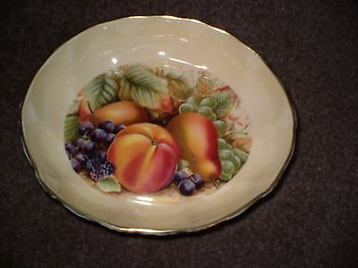 """AYNSLEY FRUIT DISH IN THE LOVELY """"ORCHARD GOLD"""" PATTERN 11cm BY 13cm 3cm DEEP."""
