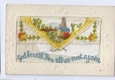 Postcard WW1 Silk God Be With You all We Meet Again Opening Flap with Card