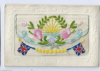 Postcard WW1 Silk Union Flags  Opening Flap with Card