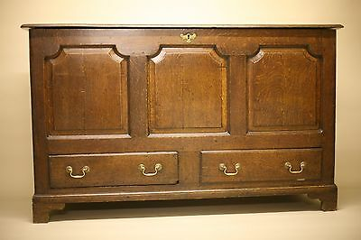 Antique Georgian Oak Mule Chest Coffer 18th 19th Century Ottoman Storage Chest