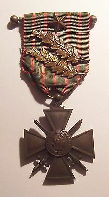VINTAGE WW I French Croix de Guerre Medal 1 STAR 2 PALMs 14-15 on Bar