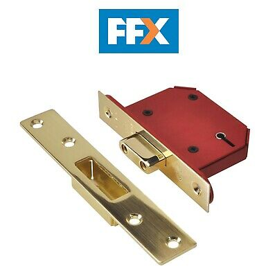 Union Y2105S-PB-3.0 StrongBOLT Polished Brass 5 Lever Mortice Dead Lock Visi