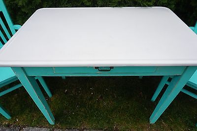 Vintage Enamel Top Kitchen Table Or Dining Table Shabby Turquoise