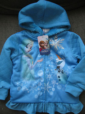 Official Disney Girls Frozen Hoodie Top Elsa & Anna New FLEECE LINED AGE 3 BNWT