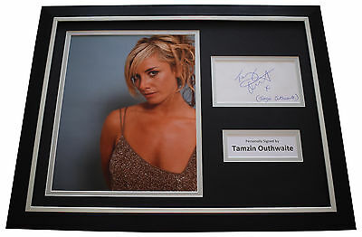 Tamzin Outhwaite SIGNED FRAMED Photo Autograph 16x12 display TV AFTAL COA