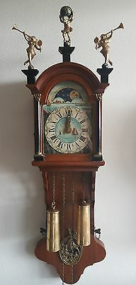 Vintage Warmink Wall Clock Friese Tailed 35 Inch 8 Day Chain Driven Moonphase
