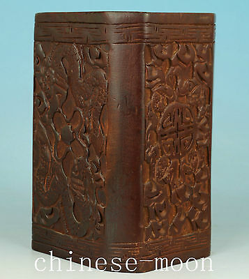 Asian Chinese Old Wood Handmade Carved Dragon Collect Statue brush pot