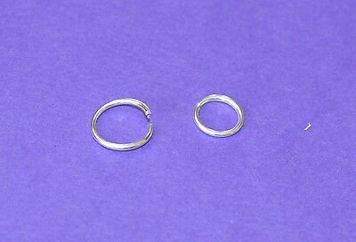 STERLING SILVER  PIERCED NOSE LIP HOOP RING STUD 8 OR 10 MM easy clip in closure